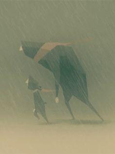 Papa e hijo. Dia lluvioso