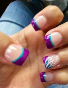 wedding manicure ideas turquoise and purple - Google Search