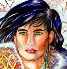 """Trabajando en el retrato de Turixant, personaje para """"Lovengrin""""."""