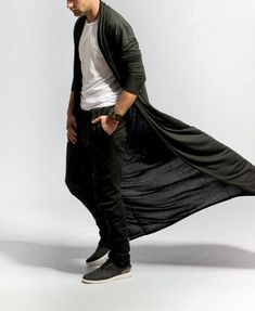 Copy this information, open → Newchic APP ← to see this product【Mens Brief Long Pleated Draped Solid Color Cardigan Casual Long Robe】 Men's Kimono Cardigan, Cardigan Casual, Long Cardigan Coat, Longline Cardigan, Drape Cardigan, Men Cardigan, Black Cardigan, Dark Fashion, Minimalist Fashion