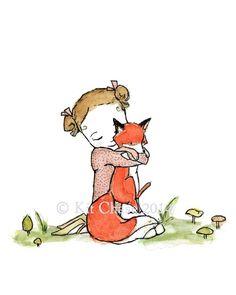 Children's Art -- Fox Girl -- Archival Print by trafalgarssquare on Etsy https://www.etsy.com/listing/170885282/childrens-art-fox-girl-archival-print