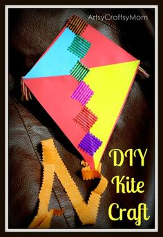 10 Simple Kite Making Ideas for kids Sankranti Kite craft photo Holiday Crafts For Kids, Craft Projects For Kids, Crafts For Kids To Make, Craft Activities For Kids, Summer Crafts, Preschool Crafts, Fun Crafts, Arts And Crafts, Craft Ideas