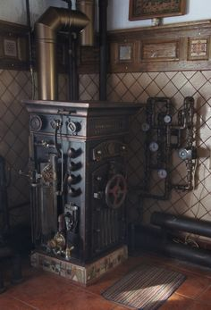 Steampunk Soviet Boiler. If you have to have something with pipes and knobs and dials like a water heater or a boiler, why not make it look cool?