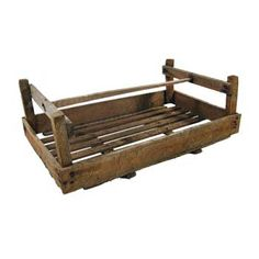 Small Box Trug Billingsgate Market Crate Vintage Antiqued Wooden Box