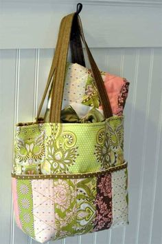 This sweet tote bag is made using a jelly roll so no need for cutting all those strips. This would make a great gift for a new mom and can be used as a cut