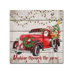 Trademark Global Jean Plout 'Vintage Christmas Truck Canvas Art - 14 x 14 x 2 823103269380876905 Christmas Truck, Red Christmas, Vintage Christmas, Christmas Wreaths, Christmas Ideas, Christmas Crafts, Christmas Quotes, Christmas Nails, Vintage Fall