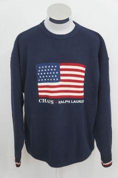 c703e05aa85 Chaps Ralph Lauren Hand Framed Mens Navy Blue American Flag Sweater Size XL   Chaps