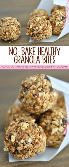 Packed with crunch and creaminess and lots of good-for-you things these homemade no-bake heatlhy granola bites are the perfect grab 'n go breakfast for a weekday morning.
