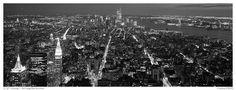 New York night cityscape. NYC, New York, USA (black and white)