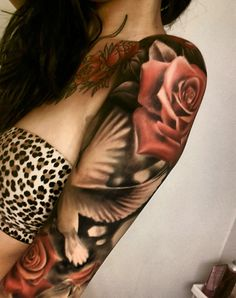Check it out Dove Sleeve Tattoos for Women. The post Dove Sleeve Tattoos for Women…. appeared first on Beauty . Dove Tattoos, Baby Tattoos, Body Art Tattoos, New Tattoos, Tribal Tattoos, Tattoos For Guys, Frog Tattoos, Tatoos, Arm Sleeve Tattoos