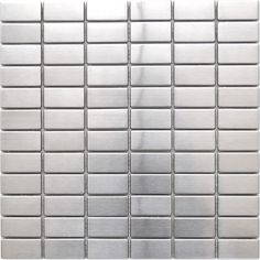 Grid Bricks Pattern Stainless Steel Mosaic Tile - Bricks are almost always found in a staggered pattern; defy convention with this modern brick mosaic tile in a grid array. This tile is ideal for stainless steel kitchen backsplashes, accent walls, bathroom walls, and bathroom back splashes. The tiles in this sheet are mounted on a nylon mesh which allows for an easy installation.