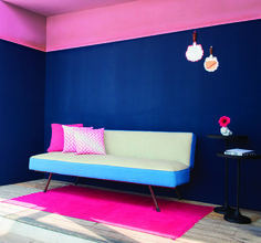 Unexpected Colour blocking find its way in otherwise mundane décor.  Colours: 8086 Young wine, 7301 Pluto