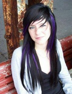"Coming soon...purple ""peekaboo"" highlights on my asymmetric hair style...dark purple like this picture!"