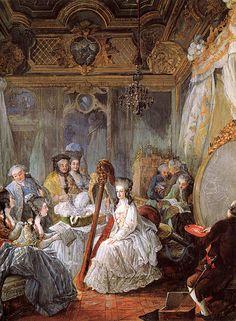 Maria Antonietta suona l'arpa, circondata da un gruppo di nobili. Dipinto di Jean Baptiste Gautier Dagoty (1777).