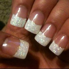 Wedding Manicure Ideas Wedding nails with ring finger all sparkles?Wedding nails with ring finger all sparkles? Glitter French Nails, Fancy Nails, Cute Nails, Pretty Nails, French Manicures, Gel French Tip Nails, Gold Glitter, Silver French Manicure, French Manicure With A Twist