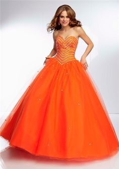 Pretty Orange Ball Gown Prom Dresses with Picture of Orange Model ...
