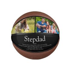 Stepfather Stepdad Definition Fun Photo Black Mini Basketball - tap to personalize and get yours #MiniBasketball #amazing #fun #papa #birthday #gift,
