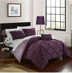 Chic Home 4 Piece Jacky Pinch, Reversible Chevron Print Ruffled and Pleated Complete King Comforter Set Purple Shams and Decorative Pillows Included Elegant Comforter Sets, Twin Comforter Sets, King Comforter, Bedding Sets, Purple Comforter, Chevron Bedding, Black Bedding, Lavender Comforter, Online Bedding Stores