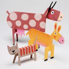 cardboard crafts for kids unique cardboard animals diy handmade toys of cardboard crafts for kids Farm Animal Crafts, Animal Crafts For Kids, Diy For Kids, Kids Crafts, Diy And Crafts, Arts And Crafts, Farm Animals, Jungle Animals, Cardboard Animals