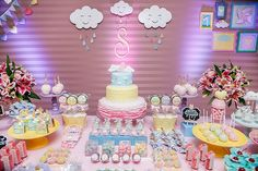 Lindíssima festa com o tema Unicórnio! Dessert Buffet Table, Fantasy Party, Rainbow Parties, Baby Party, Childrens Party, Unicorn Party, Princess Party, Baby Shower Cakes, Holidays And Events