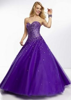 Sparkly Beaded Bust Purple Strapless Croset Back Tulle Ball Gown