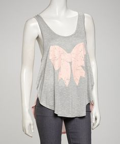 Take a look at this Gray & Pink Bow Tank by Simply Irresistible on #zulily today! $12.99, regular 40.00