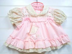 Vintage Baby Clothes Baby Girl Dress Pink and by OnceUponADaizy, $18.00