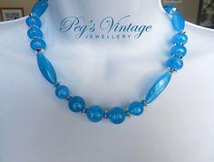Vintage Lucite Blue Moonglow Bead by PegsVintageJewellery on Etsy