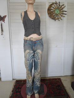 Hippie Boho Jeans Bleached Jeans Leather Belt by LandofBridget