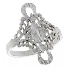 Sterling Silver Floral Filigree Ring, 3/4 inch w/ Loops.