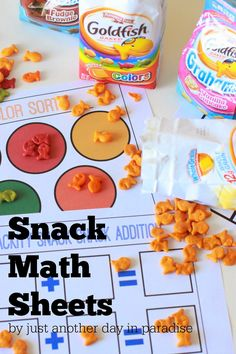 Just Another Day in Paradise: Goldfish Snack Math Sheets Preschool math activity? Preschool Jobs, Preschool Cooking, Math Activities For Kids, Free Preschool, Math For Kids, Kindergarten Math, Math Games, Homeschool Math, Homeschooling