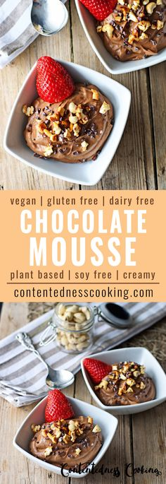 This Chocolate Mousse is a beautiful vegan dessert. Homemade, plant based, gluten free, and soy free. But it best: it's insanely delicious. Yum!