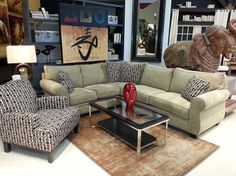 you can have made in america furniture like this jonathan lewis echo suede sectional paired with asian inspired art for an east meets west look