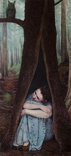 Christer Karlstad, Norwegian figurative painter. 'Earthling' / oil on canvas #painting #tree #portrait