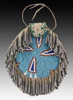 198: Native American Apache beaded strike a lite pouch : Lot 198