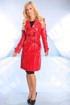 RED CRINKLE PATENT LEATHER BUTTON WAIST TIE TRENCH COAT,Trendy & Fashion Style Women Coats-Sexy Women Coats,Winter Coats,Hooded Coat,Fur Coa...