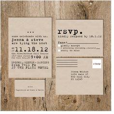Modern Vintage Typewriter Wedding Invitation Package on Kraft Paper (Option for printed invites or DIY Printable Invites)