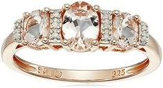 Rose Gold-Plated Sterling Silver, Morganite, and Diamond-Accented Ring, Size 8 #deals