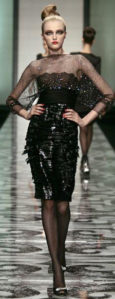 Valentino black runway fashion dress sheer