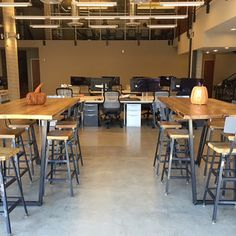 High Top Communal Tables And Bar Height Tables, Bar Stools Made Of Reclaimed  Wood