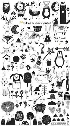 Scandinavian for Girl by JB ART on Creative Market - Ideen finanzieren Doodle Art, Doodle Drawings, Drawing Sketches, Drawing Ideas, Desenho Kids, Creative Market, Boy Illustration, Girl Illustrations, Satirical Illustrations