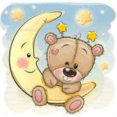 Cute Cartoon Teddy Bear on the moon. Cute Cartoon brown Teddy Bear on the moon royalty free illustration Cartoon Cartoon, Moon Cartoon, Teddy Bear Cartoon, Baby Teddy Bear, Brown Teddy Bear, Cute Teddy Bears, Cartoon Drawings, Cute Drawings, Cartoon Characters