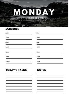 Black and White Nature General Daily Planner