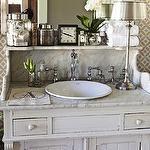 bathrooms - white vessel sink white refurbished vintage washstand vanity marble top vintage canisters  Lovely vintage bathroom with York Wallcoverings