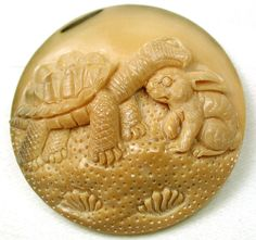 Hand Carved Vegetable Ivory Button w Tortoise Hare Design | eBay