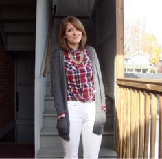 Girly tomboy: Plaid button-up, boyfriend cardigan, white jeans {Exceptionally Ordinary blog}