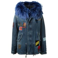 Mr&Mrs Italy Hooded Blue Denim Cotton And Fur Parka (£1,755) ❤ liked on Polyvore featuring outerwear, coats, blue fur coat, fur sleeve coat, blue parka coat, fur coat and fur parka coat