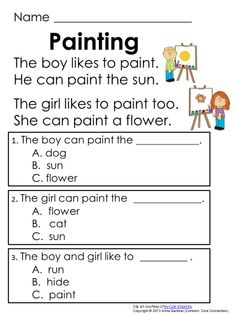 Printables Free Comprehension Worksheets For Grade 1 first grade reading 1 and 2 on pinterest