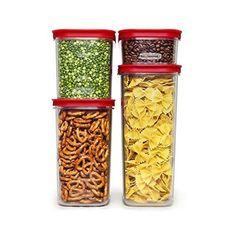 Rubbermaid Modular Canisters, Premium Food Storage Container, BPA-free Zylar, 8-piece Set, Red (1840746)