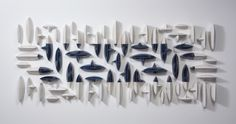 Available for sale from Hostler Burrows, Maren Kloppmann, Wall Pillows Blue Rectangle I Glazed Porcelain, 42 × 108 × 5 in Artistic Installation, Wall Installation, Wall Sculptures, Sculpture Art, Deco Paint, Ceramic Wall Art, Hanging Pictures, Abstract Wall Art, Design Art
